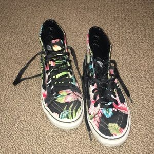 vans floral high top shoes
